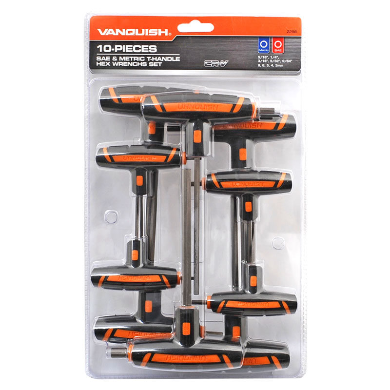 10-PIECE SAE & METRIC T-HANDLE HEX WRENCHS SET